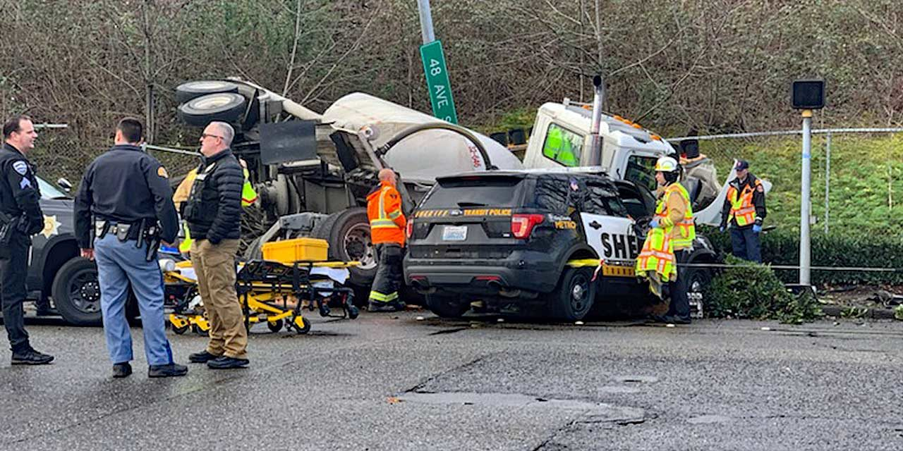 Loaded driver of loaded concrete truck smashes into Sheriff's Deputy in Tukwila Thurs. morning