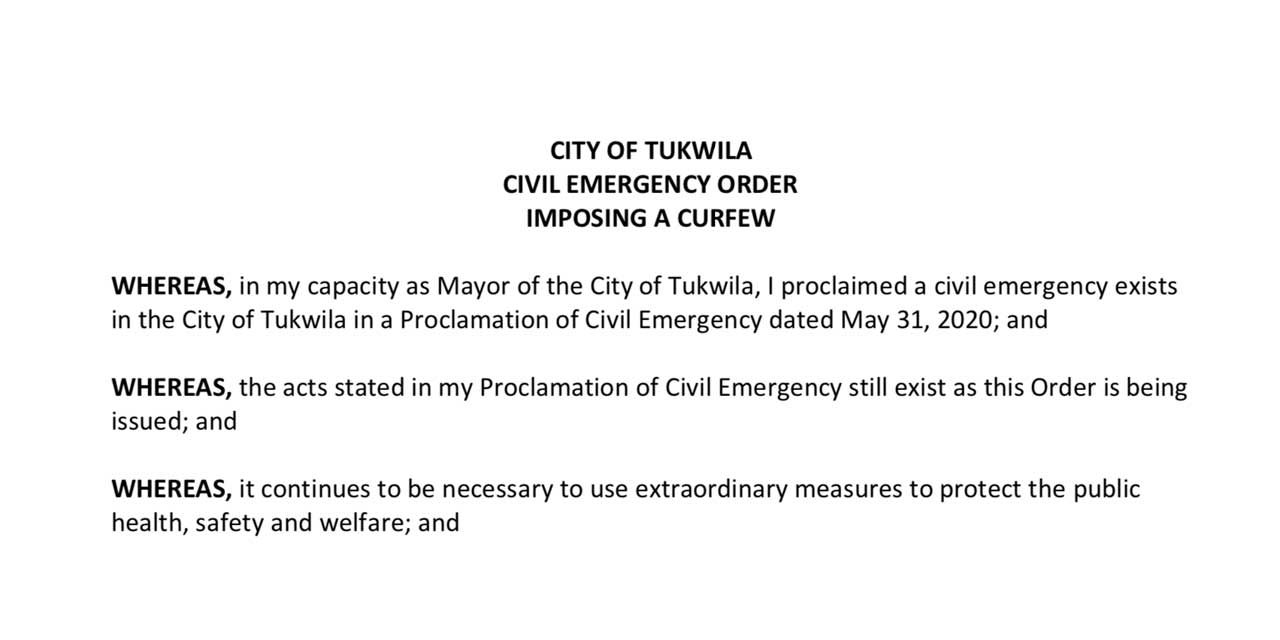 Due to recent looting, City of Tukwila issues Emergency Order Monday