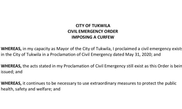 Curfews will continue in Tukwila through Friday, June 5 (at least)