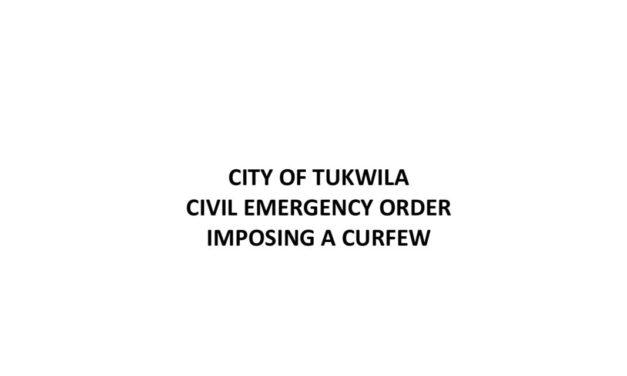 Curfew order for Tukwila updated with new times, locations