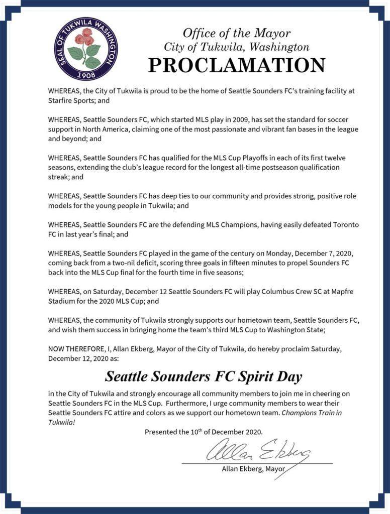 Saturday is 'Seattle Sounders FC Spirit Day' – here's video of Tukwila Mayor's proclamation 1