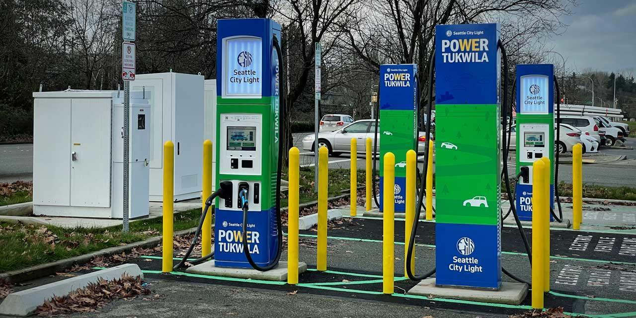 Seattle City Light unveils five new electric vehicle chargers in Tukwila